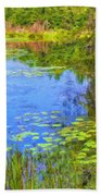 Blue Pond And Water Lilies Bath Towel