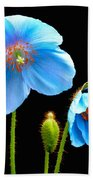 Blue Poppy Flowers # 4 Bath Towel