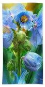 Blue Poppy Bouquet - Square Bath Towel