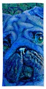 Blue Pug Bath Towel
