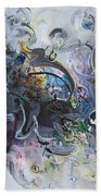 Blue Purple Abstract Movement Art Bath Towel