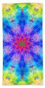 Blue Rainbow Star Mandala Bath Towel