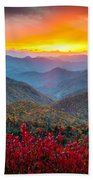Blue Ridge Parkway Autumn Sunset Nc - Rapture Bath Sheet
