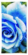 Blue Rose With Brushstrokes Bath Towel