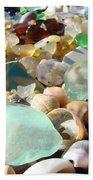 Blue Seaglass Beach Art Prints Shells Agates Bath Towel
