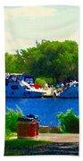 Blue Skies Boats And Bikes Montreal Summer Scene The Lachine Canal Seascape Art Carole Spandau Bath Towel