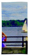 Blue Skies White Sails Drifting Blonde Girl And Collie Watch River Run Lachine Scenes Carole Spandau Bath Towel