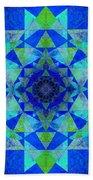 Blue Sri Yantra Variation Bath Towel