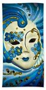Blue Venetian Mask Bath Towel