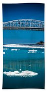 Blue Water Bridge Reflection Bath Towel