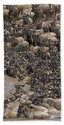 Blue Wildebeest Migration Bath Towel