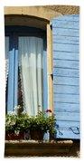 Blue Window And Shutters Bath Towel