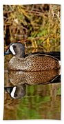 Blue-winged Teal Drake Bath Towel