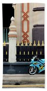 Blue Yellow Sporty Motorcycle Parked On Pavement Bath Towel