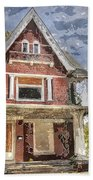 Boarded Up Old Characer Home Watercolor Bath Towel
