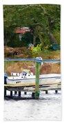 Boat On Dock Bath Towel