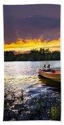 Boat On Lake At Sunset Bath Towel