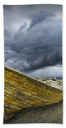Boat On The Beach With Oncoming Storm Bath Towel