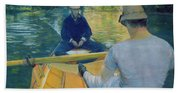 Boaters On The Yerres Hand Towel
