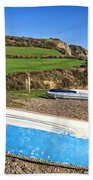Boats Along Branscombe Beach Bath Towel