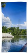 Boats At Dock On A Lake With Blue Sky Bath Towel