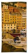 Boats At The Harbor, Camogli, Liguria Bath Towel
