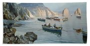 Boats In A Rocky Cove  Bath Towel
