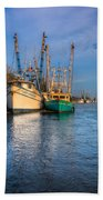 Boats In Blue Hand Towel