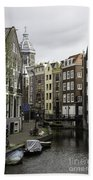 Boats In Canal Amsterdam Bath Towel
