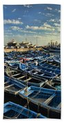 Boats In Essaouira Morocco Harbor Bath Towel