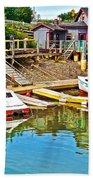 Boats In Halls Harbour-nova Scotia  Bath Towel