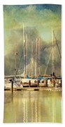 Boats In Harbour Bath Towel