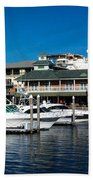 Boats In Port 3 Bath Towel