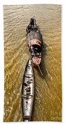 Boats In The Mekong River - Vietnam Bath Towel