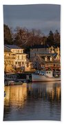 Boats Moored At Harbor During Dusk Hand Towel