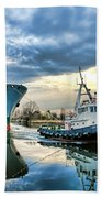 Boats On A Canal Bath Towel by Olivier Le Queinec