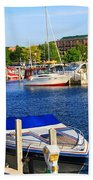 Boats On The Dock Traverse City Bath Towel