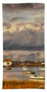Boats On The River Bath Towel