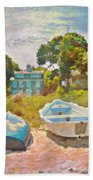 Boats Up On The Beach - Horizontal Bath Towel