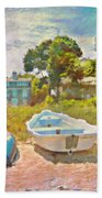 Boats Up On The Beach - Square Bath Towel