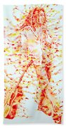 Bob Marley And Guitar - Watercolor Portrait Bath Towel