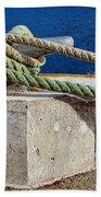 Bollard Closeup - Ropes - Mooring Lines - Wharf Bath Towel