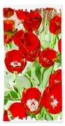 Bordered Red Tulips Bath Towel
