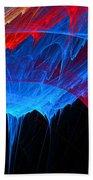 Borealis - Blue And Red Abstract Bath Towel