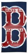 Boston Red Sox Logo Letter B Baseball Team Vintage License Plate Art Bath Towel
