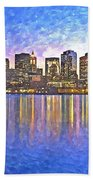 Boston Skyline By Night Bath Towel