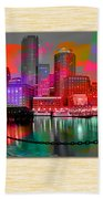 Boston Skyline Painting Bath Towel