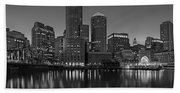 Boston Skyline Seaport District Bw Bath Towel