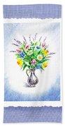 Botanical Impressionism Watercolor Bouquet Bath Towel