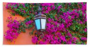 Bougainvillea And Lamp, Mexico Bath Towel